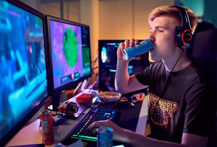 Gamer infront of monitor