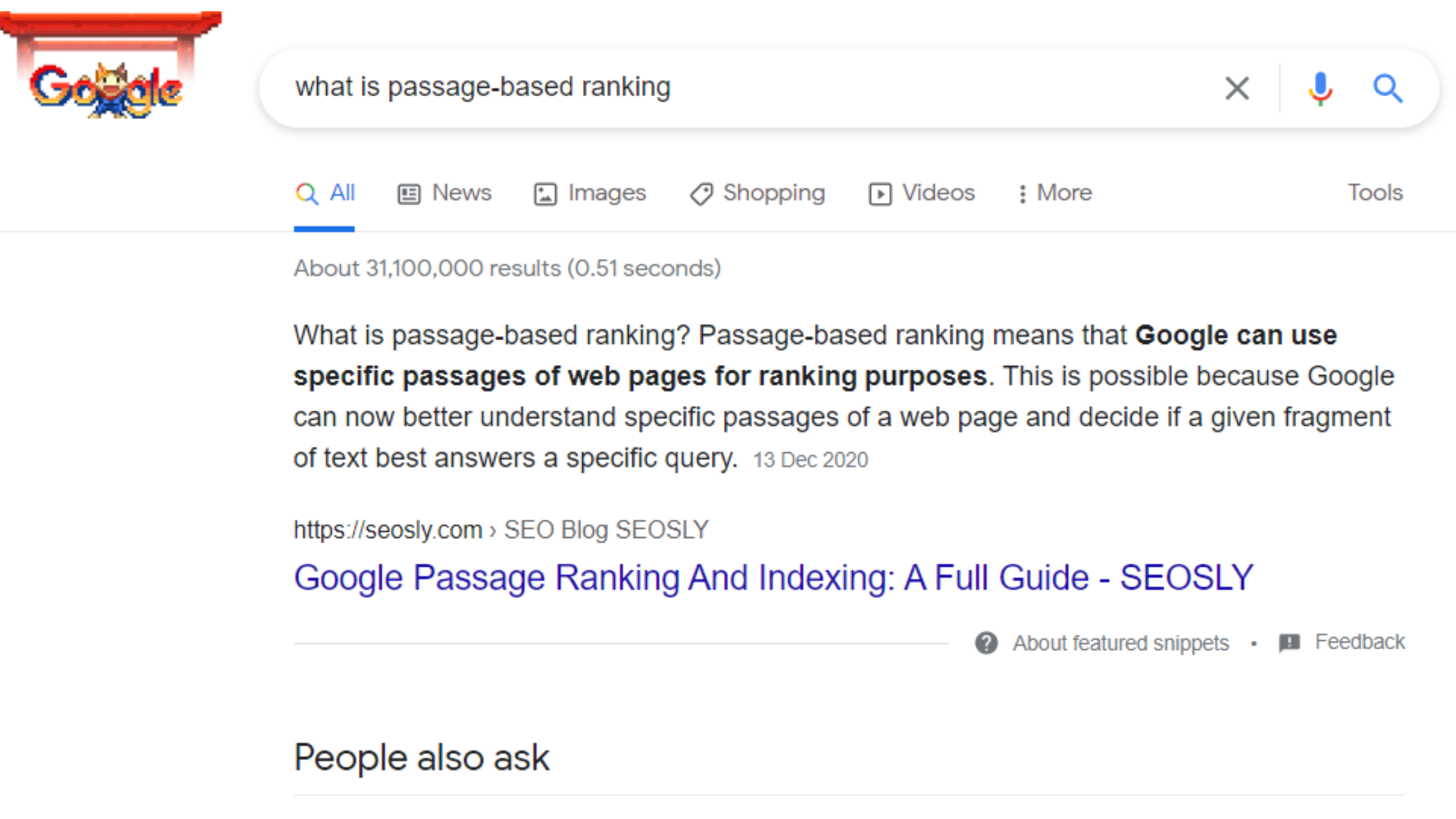 A screen shot of googles What is Google's Passage Ranking Update and how it appears in Google search results